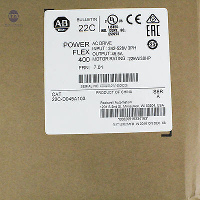 New Sealed Allen Bradley 22C-D045A103 30HP Powerflex 400 Catalog Ser A