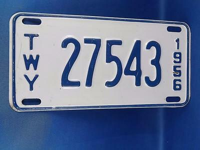 New York License Plate 1956 Twy Thruway 27543 Vintage Man Cave Car Shop Sign
