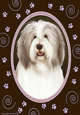 Garden Indoor/Outdoor Paws Flag - Fawn & White Bearded Collie 174831