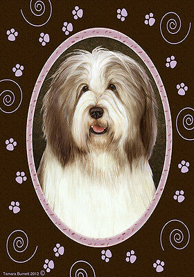 Garden Indoor/Outdoor Paws Flag - Brown & White Bearded Collie 174821