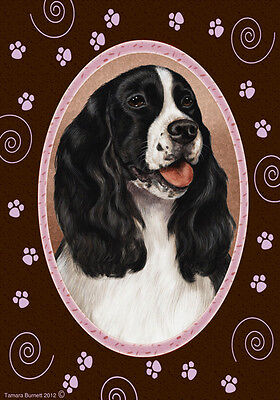 Garden Indoor/Outdoor Paws Flag - Black & White English Springer Spaniel 170801