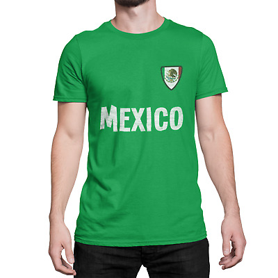 Mens MEXICO Country Name and Badge T-Shirt Football World Cup 2018 Sports