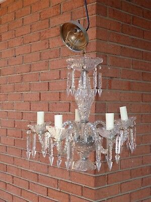 Antique 4 Arm Glass Crystal CHANDELIER with Prisms