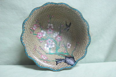 Vintage cloisonne Bowl Bird and Flowers with Tree