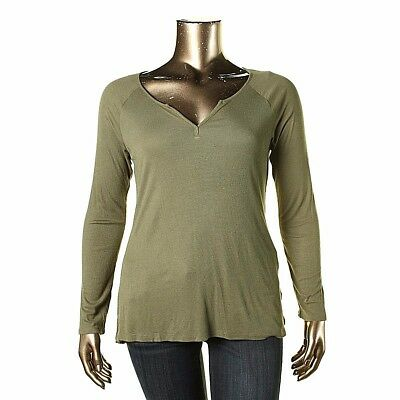 6cf8c2ce7455ab NWT HIPPIE ROSE Olive Green Ribbed Knit Henley Top Long Sleeve Tee T-Shirt  XL