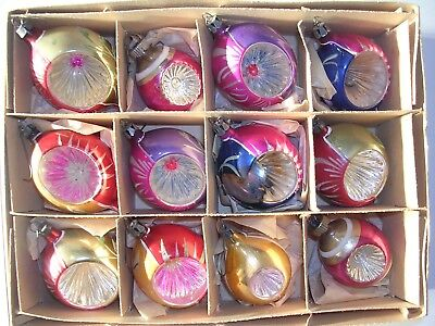 Vintage Lot of 11 Glass Christmas Tree Ornaments In Original Box