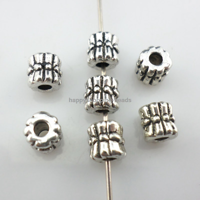 60/500pcs Tibetan Silver tube Charms Crafts Loose Spacer Beads 6x6mm