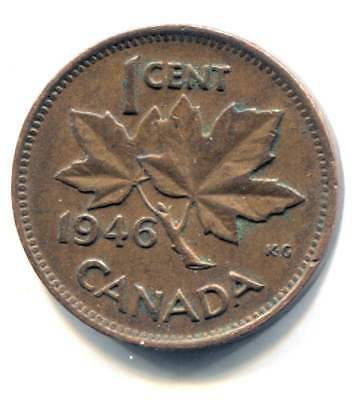 1946 Canadian 1 Cent Maple Leaf Penny Coin - Canada - King George VI