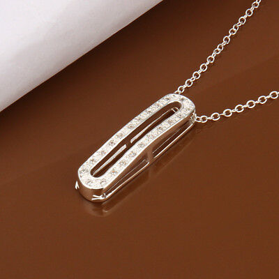 "925Sterling Silver Fashion Jewelry Zircon Oval Pendant Women Necklace 18"" NY388"