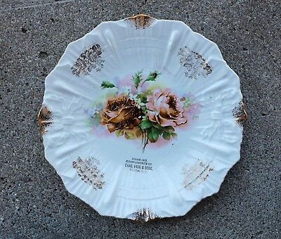 1910 TABOR, S.D. South Dakota Christmas Plate COMPLIMENTS CHAS VAUK & SONS Roses