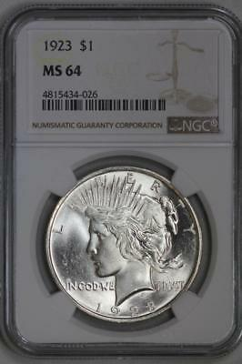 1923 Silver Peace Dollar MS64 NGC US Mint $1 Coin