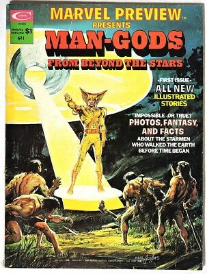 ESZ3725. MARVEL PREVIEW #1 Presents Man-Gods by Curtis (1975) NEAL ADAMS Cover