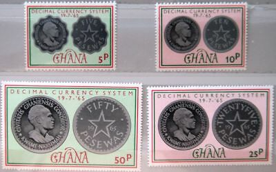 GHANA 1965 220-23 212-15 Coins Introduction new Currency Währung Money Geld MNH