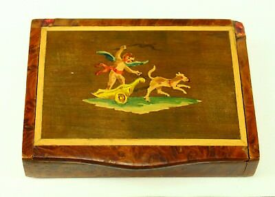!Antique 1800's Italian SORRENTO WARE Marquetry Inlaid Burl Wood Treen Snuff Box
