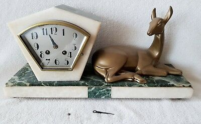Mantel Clock Art Deco French 8 Day Pendulum Marble Base Key