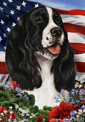 Large Indoor/Outdoor Patriotic I Flag - Black & White English Springer 16080