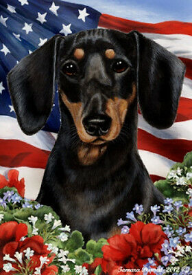 Large Indoor/Outdoor Patriotic I Flag - Black & Tan Shorthaired Dachshund 16008