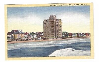 NJ Atlantic City New Jersey antique linen post card View from Ventnor Pier