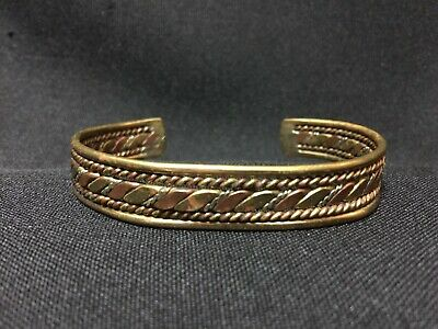 Vintage! Very Attractive Brass and Copper Cuff  Bracelet FS