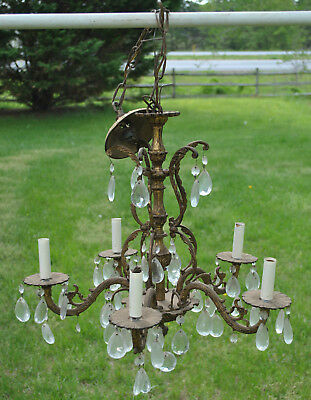 Vintage 5 Arm Brass Chandelier with Ceiling Cap and Crystals