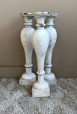 Three(3) RECLAIMED Wood Candlesticks SHABBY Candle Holders Antique White 200-18