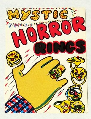 ESZ3831. Vintage MYSTIC HORROR RINGS Vending Machine Paper Ad Piece (1960's) ~~