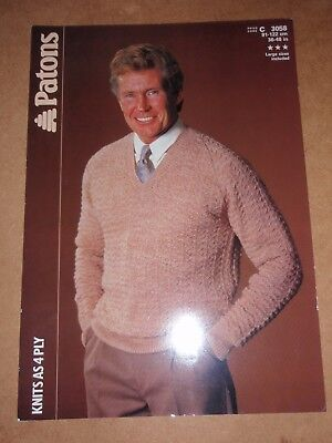 Patons 4 Ply Knitting Pattern Mans Sweater 36 48 Chest 150