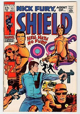 Marvel NICK FURY, AGENT OF SHIELD #12 - Smith Art - VF/NM May 1969 Vintage Comic