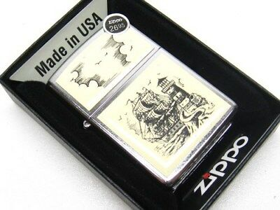 ZIPPO Full Size Street Chrome SCRIMSHAW SHIP Windproof Lighter New! 29397