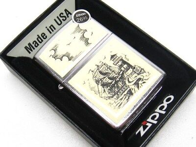 Zippo Full Size Street Chrome Scrimshaw Ship Windproof Lighter 29397