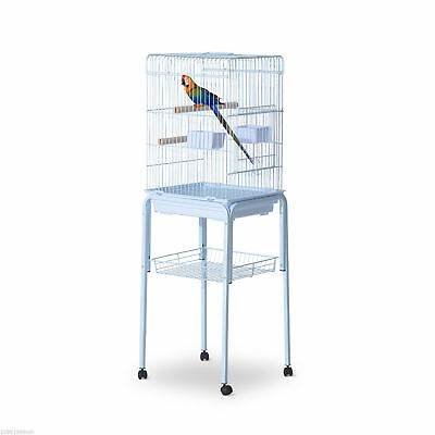 "Bird Cage 51"" Parrot Macaw Finch Cockatoo Pet Feeding Tray Play Top White"