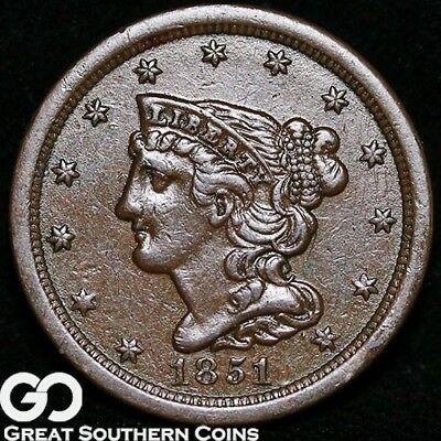 1851 Half Cent, Braided Hair, AU++ Early Date Copper