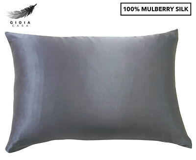 Gioia Casa Two-Sided 100% Mulberry Silk Pillowcase - Charcoal