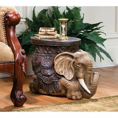 Exotic Elephant Sculptural Accent Table Footstool Display Stand Pachyderm