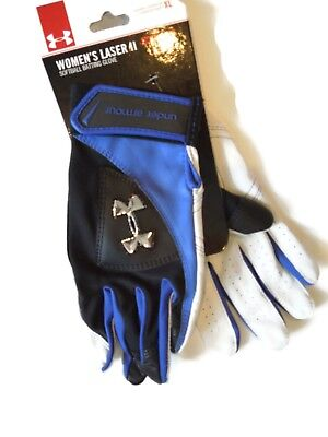 Under Armour Women's Laser ll Softball Batting Glove gloves Black Blue Size XL