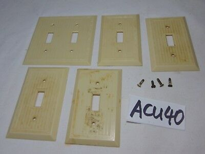 5 Vintage Bakelite Ivory Ribbed Deco Switch  Switch Plate Covers 4 Single 1 Dual