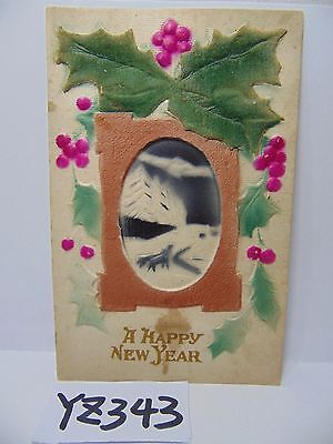 Vintage Postcard 1900's A Happy New Year Snow Scene Raised Made In Germany