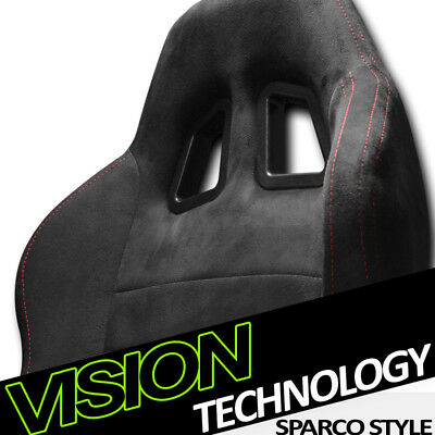 1P JDM SP Sport Black Suede Red Stitch Reclinable Racing Bucket Seat+Slider V12
