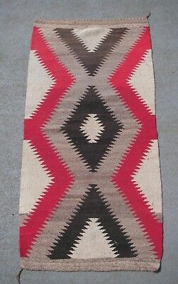 Vintage Authentic Eye Dazzler Navajo Rug -  18.5 x 37""