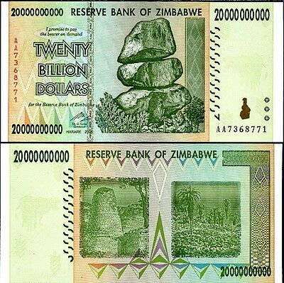 Zimbabwe 20 Billion Dollars 2008 Banknote UNC AA+ (Zm20B)