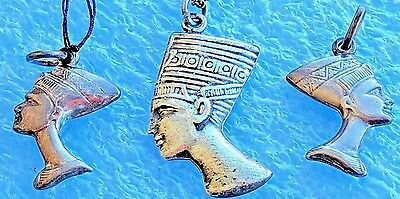 3  Vintage Sterling Silver Egypt Egyptian Queen Nefertiti Pendant Charm Necklace