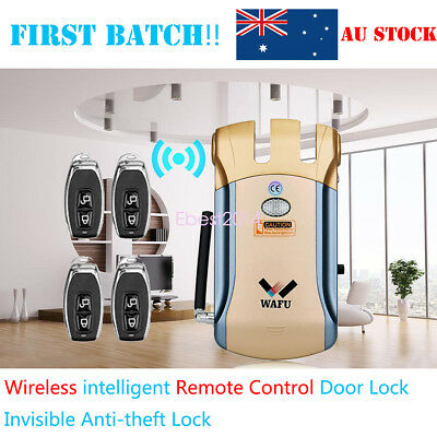 Smart Remote Control Wireless Invisible Lock & 4pcs Keyless Entry Home Security