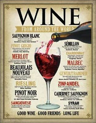 Wine Around the World Tin Metal Sign 13 x 16in