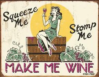 Moore - Make me Wine Tin Metal Sign 13 x 16in