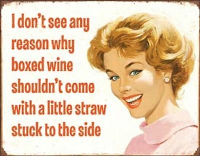Boxed Wine Tin Metal Sign 13 x 16in
