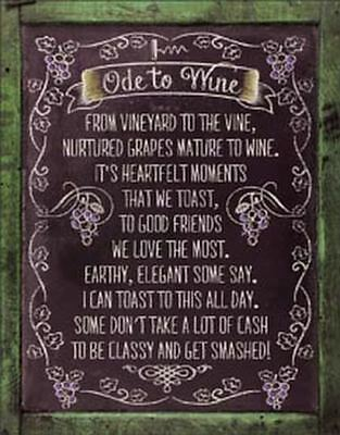 Ode to Wine Tin Metal Sign 13 x 16in