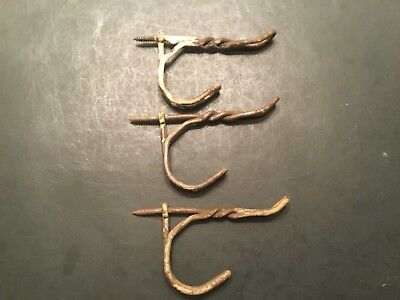 Lot of 3 Vintage Antique Rusty Chippy Twisted Metal Wire COAT HOOKS Screw In