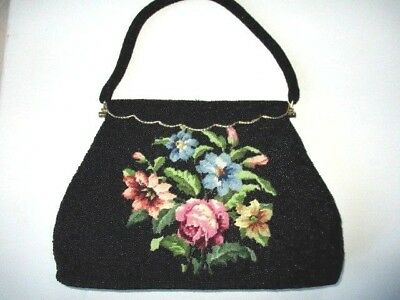 Antique vintage beaded & embroidered handbag Collectible  made Hong Kong
