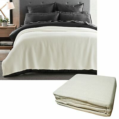380GSM 100% Cotton Knitted Blanket Ivory - SINGLE QUEEN KING