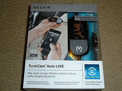 BELKIN TUNECAST AUTO LIVE IPHONE IPOD FM TRANSMITTER CAR CHARGER F8Z498cw - NEW!